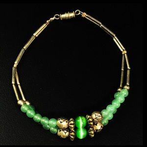 Vintage Liquid silver cats eye jade style bracelet